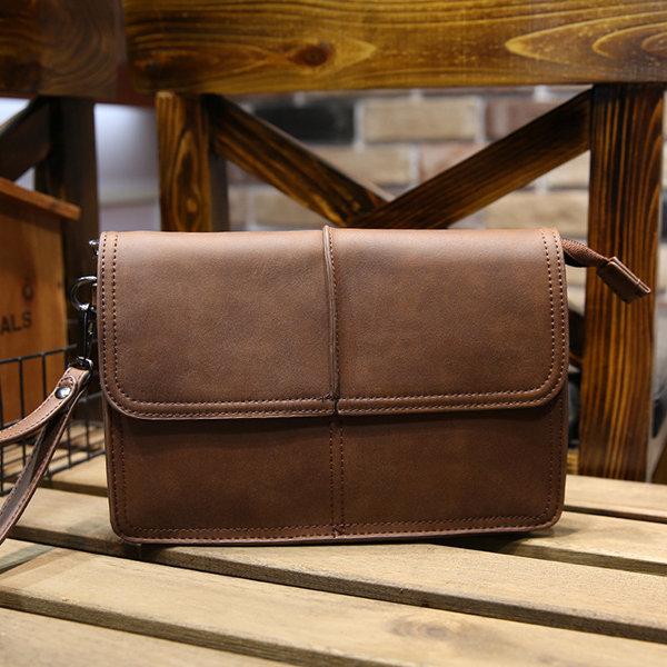 Business Retro Clutch Bag Pu Big Capacity Wallet Casual Purse Phone Bag For Men