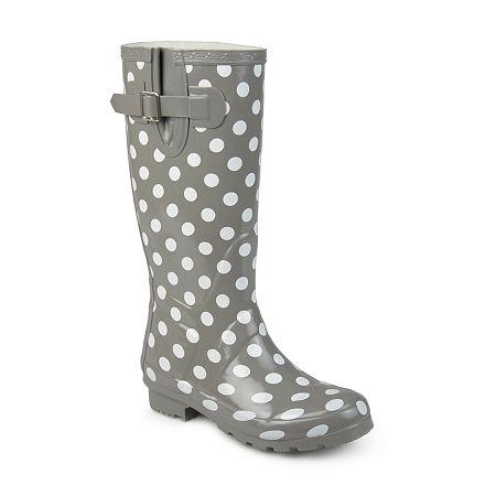 Journee Collection Womens Mist Rain Boots Water Resistant Block Heel, 8 Medium, Gray