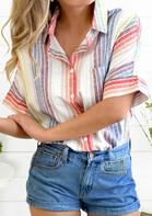 Colorful Striped Pocket Button Shirt