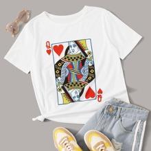 T-Shirt mit Poker Muster und rundem Kragen