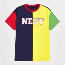 Men Letter Graphic Colorblock Top