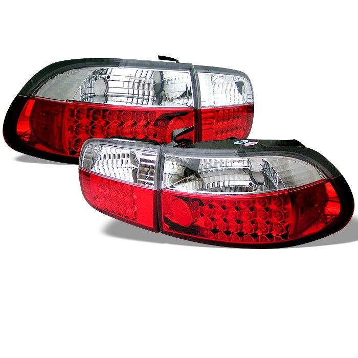 Spyder 2 4Dr LED Red/Clear Tail Lights Honda Civic 92-95
