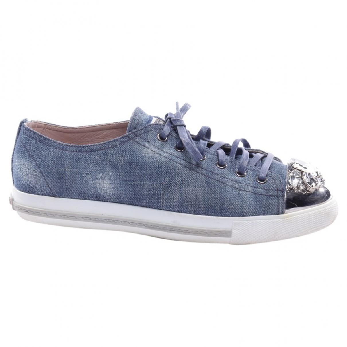 Miu Miu N Blue Leather Flats for Women 41 EU