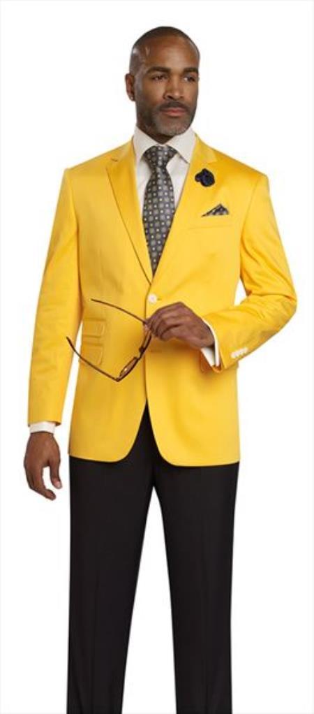 Mens Yellow 2 Button 2 Piece Blazer