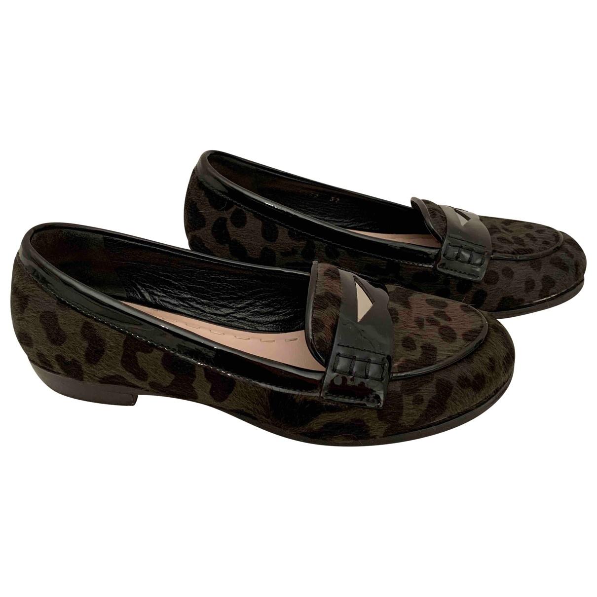 Miu Miu \N Khaki Pony-style calfskin Flats for Women 37 EU