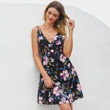 Cami Kleid mit Kreuzgurt hinten und Blumen Muster