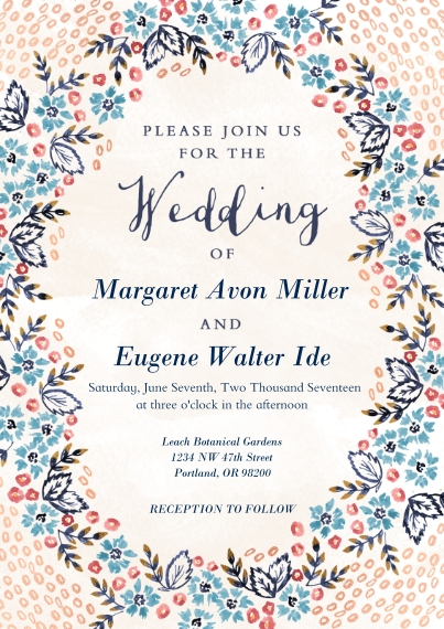 Wedding Invitations 5x7 Cards, Premium Cardstock 120lb with Rounded Corners, Card & Stationery -Nosegay