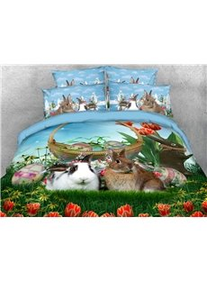 Two Rabbits In The Tulip Garden 3D Printed 4-Piece Polyester Bedding Sets/Duvet Covers