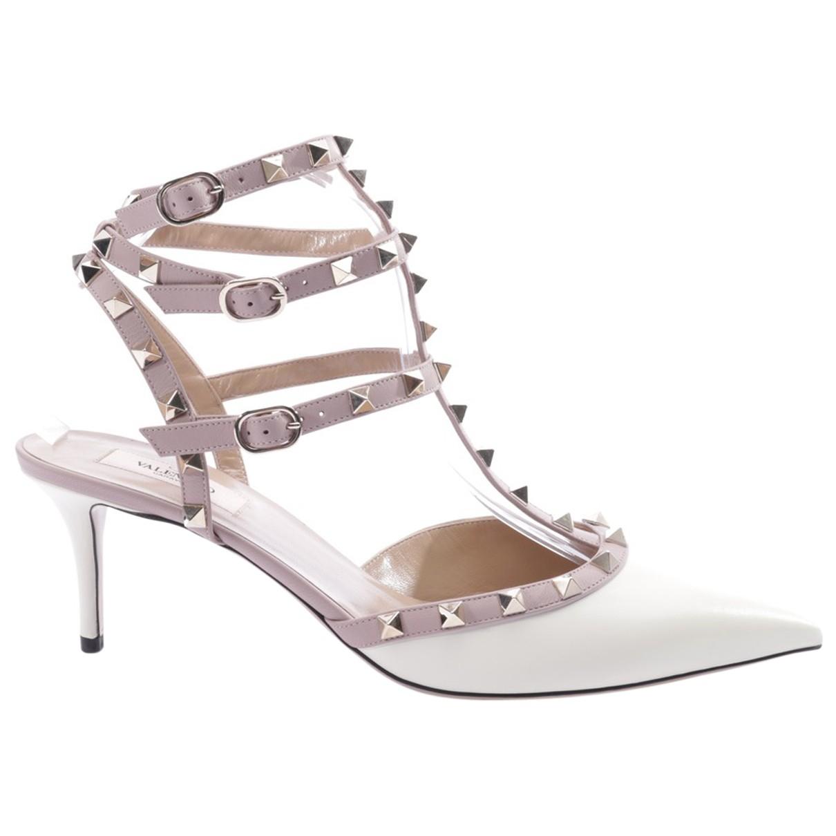 Valentino Garavani - Sandales Rockstud pour femme en cuir - blanc