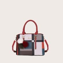 Pom-pom Charm Color Block Satchel Bag