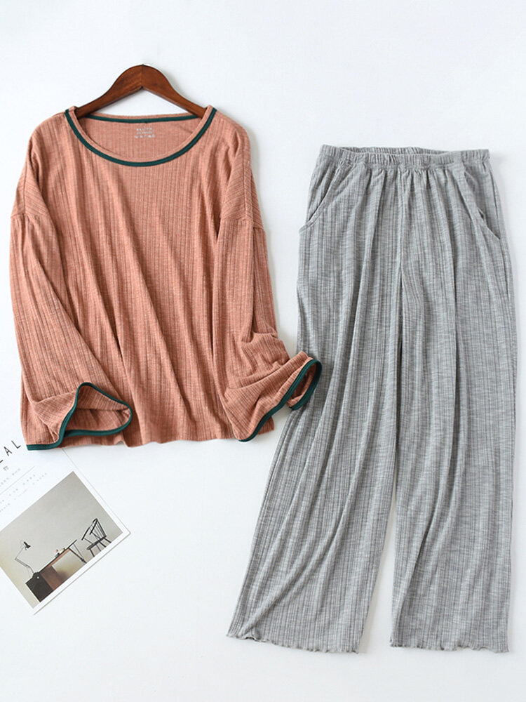 Pajamas Long Sets Cotton Striped Soft Casual Sleepwear For Winter Spring