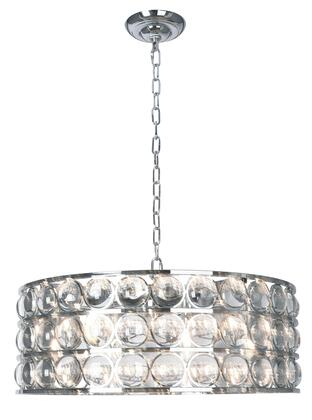 MU70CH 8-Light Chandelier with Iron and Crystal Materials and 40 Watts in Chrome