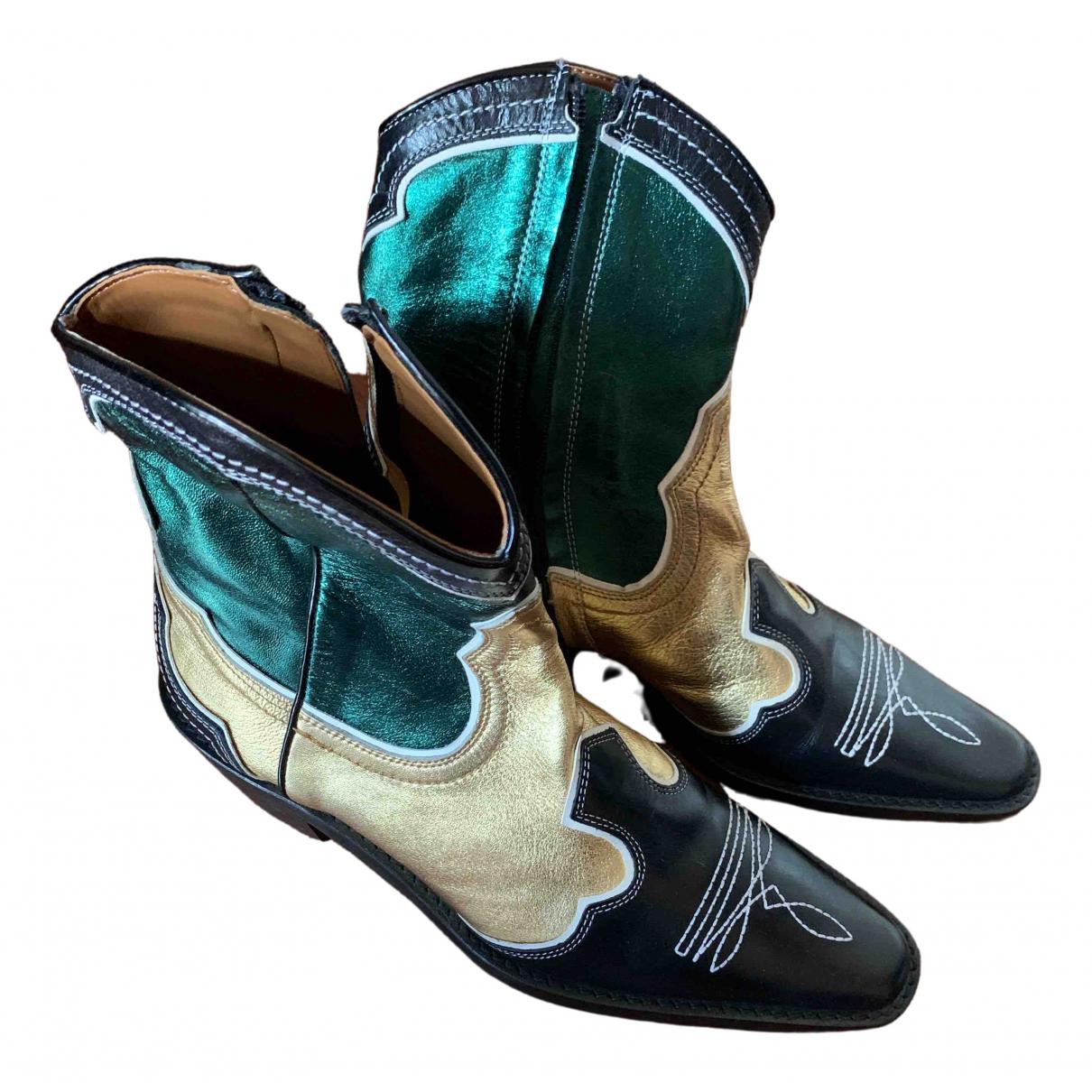 Zara - Boots   pour femme en cuir - metallise