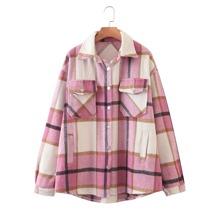 Mantel mit Karo Muster, Taschen und Knopfen