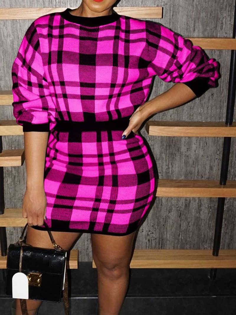 Ericdress Sweet Hoodie Plaid Pullover Bodycon Two Piece Sets