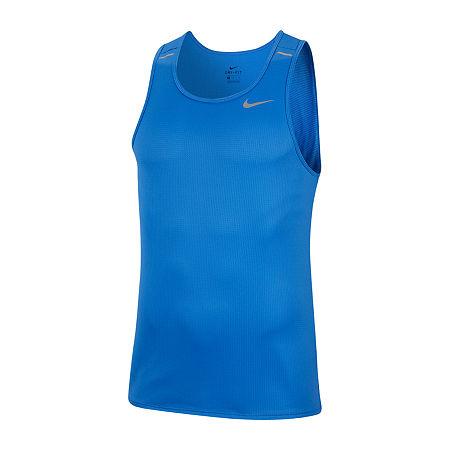 Nike Mens Crew Neck Sleeveless Moisture Wicking Tank Top, Large , Blue