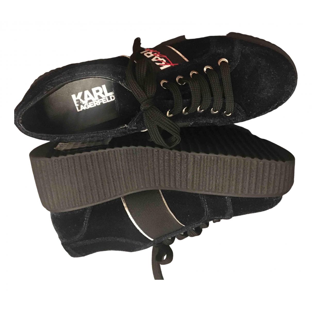 Karl Lagerfeld \N Sneakers in  Blau Samt