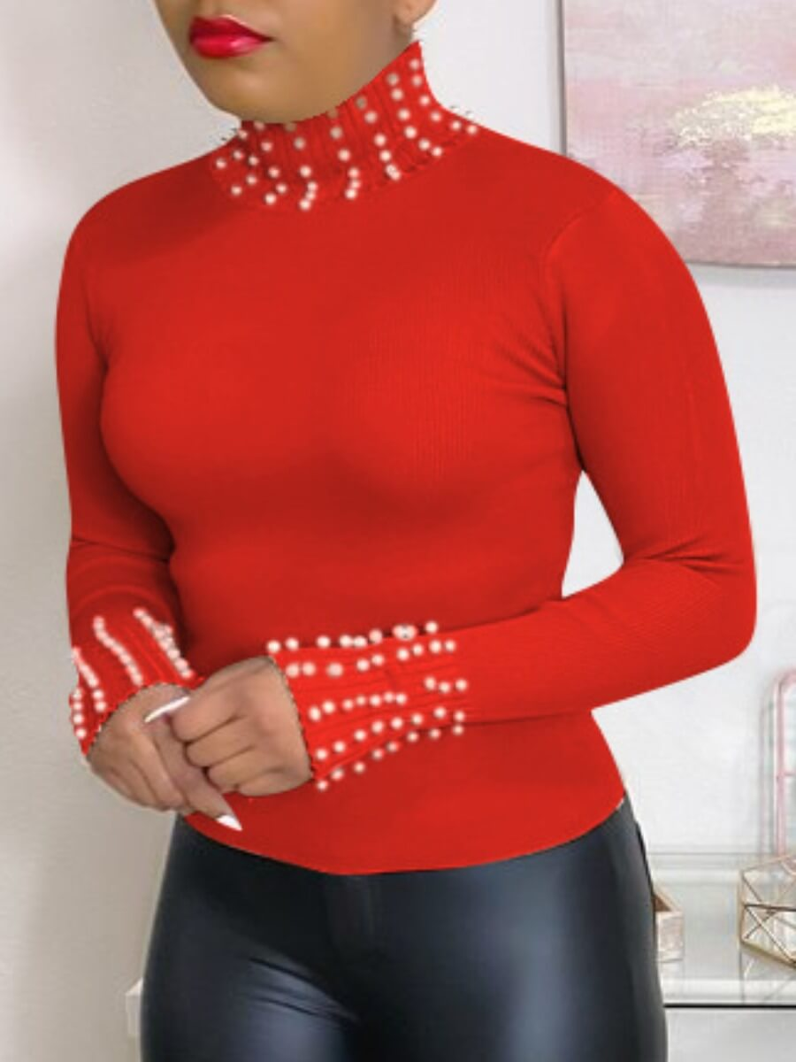 LW Lovely Street Turtleneck Pearl Decorative Red T-shirt