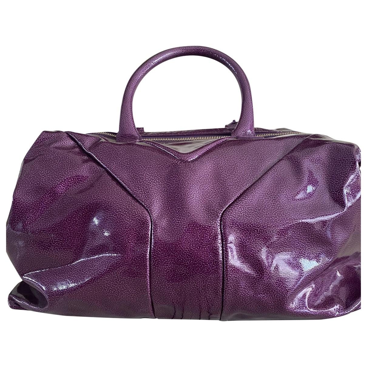 Yves Saint Laurent - Sac a main Easy pour femme en cuir - violet