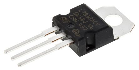 STMicroelectronics , 12 V Linear Voltage Regulator, 1A, 1-Channel, 2% 3-Pin, TO-220 L7812ACV (50)