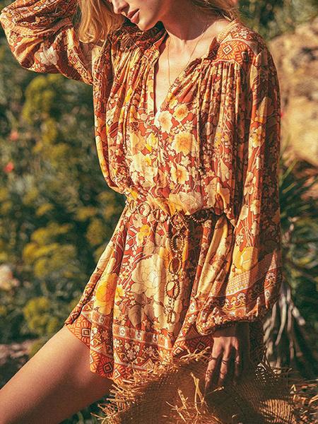 Milanoo Vestido boho con cuello en v manga larga estampado floral vestido extragrande