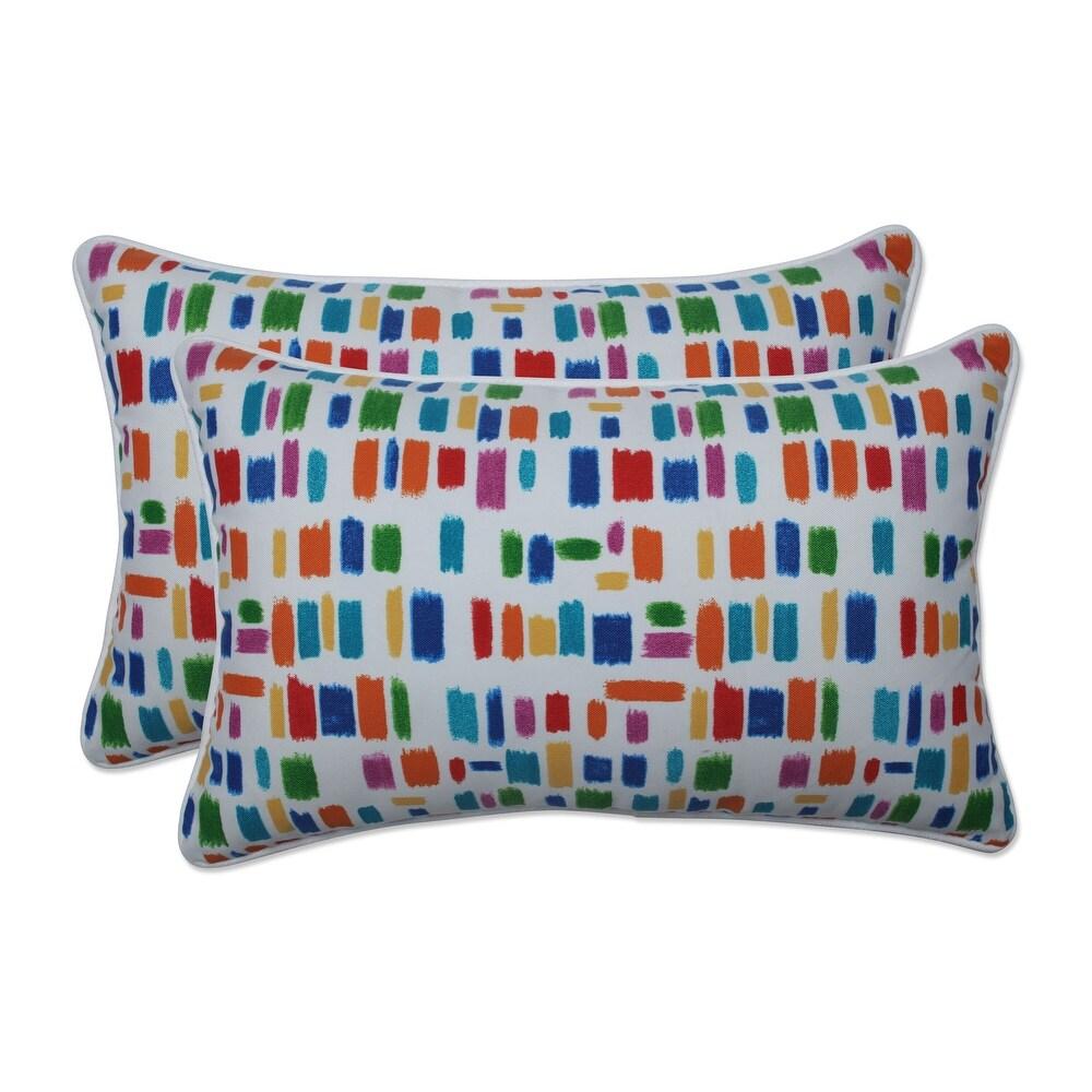 Pillow Perfect Outdoor / Indoor Color Tabs Primaries Rectangular Throw Pillow (Set of 2) 18.5 X 11.5 X 5 (Blue)