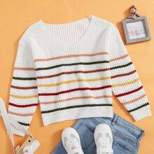 Girls Striped V Neck Sweater