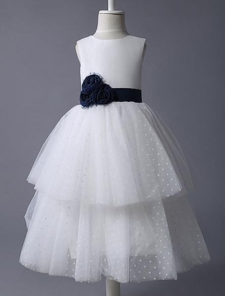 Milanoo Vestido estilo Bohemia de damitas con escote redondo y flor sin mangas