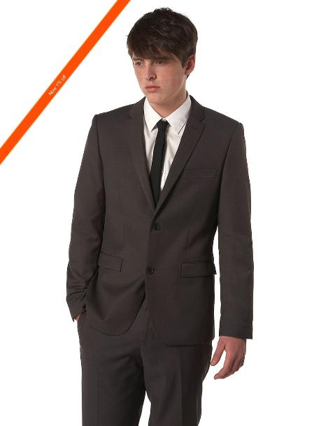 Mens Ultra Slim Cut Black Suit in 2Button Style
