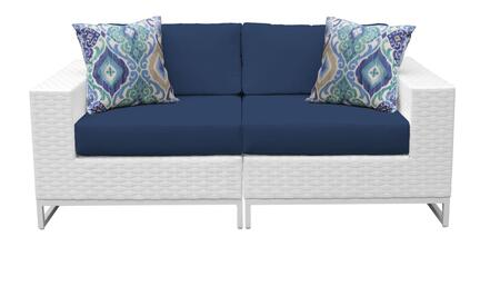 Miami MIAMI-02a-NAVY 2-Piece Wicker Patio Furniture Set 02a with Left Arm Chair and Right Arm Chair - Sail White and Navy