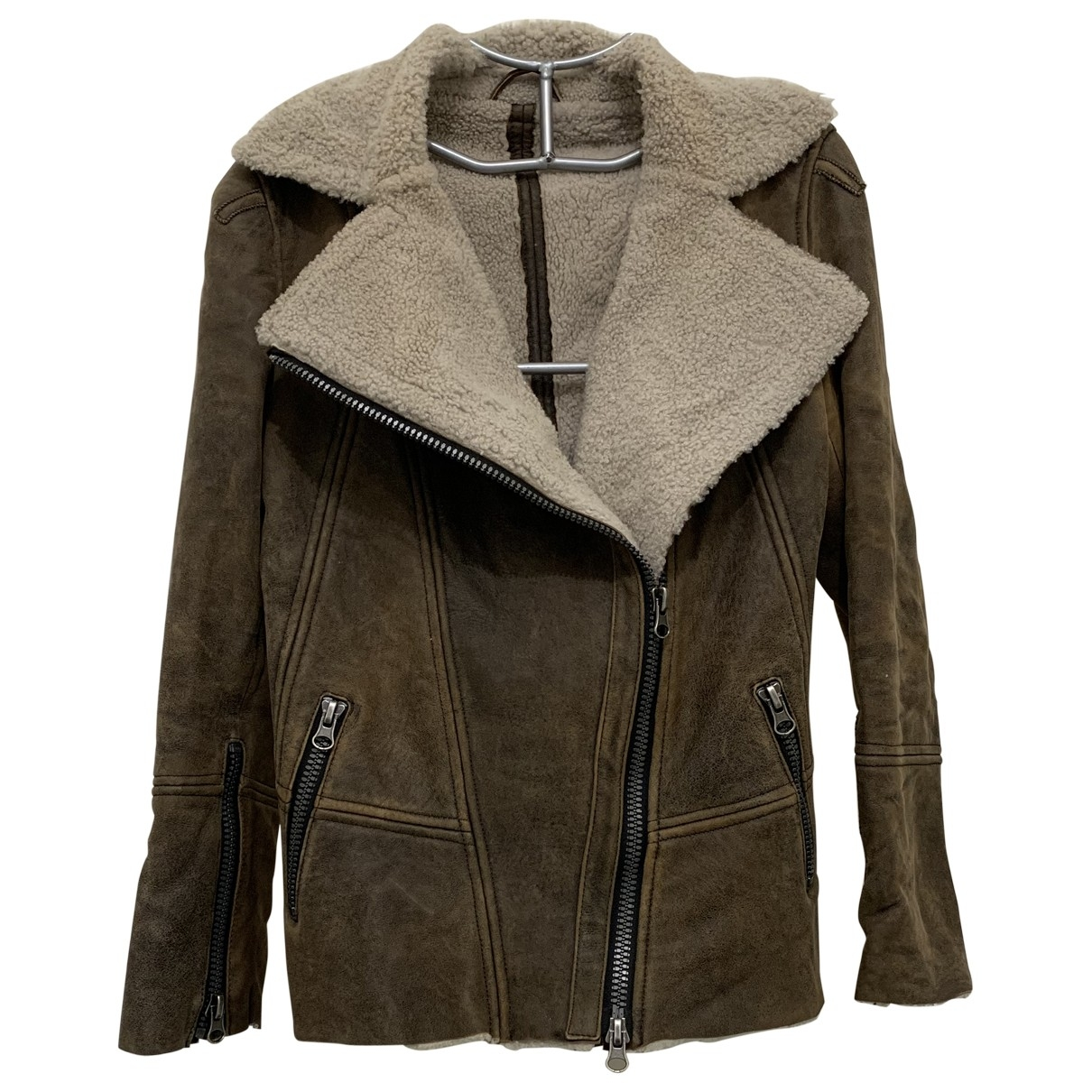 Gerard Darel \N Brown Mongolian Lamb Leather jacket for Women 38 FR
