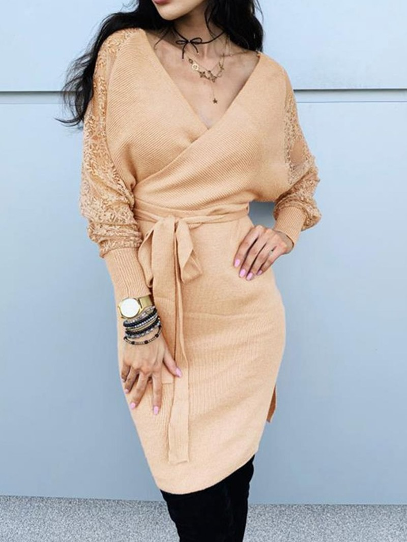 Ericdress Lace-Up Long Sleeve Above Knee Bodycon Pullover Dress