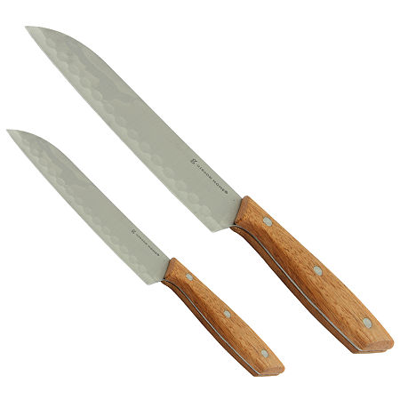 Gibson Home Seward 2 piece Stainless Steel Santoku Cutlery Set with Wooden Handle, One Size , Brown