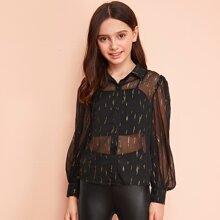 Girls Lantern Sleeve Gold Print Sheer Blouse Without Cami