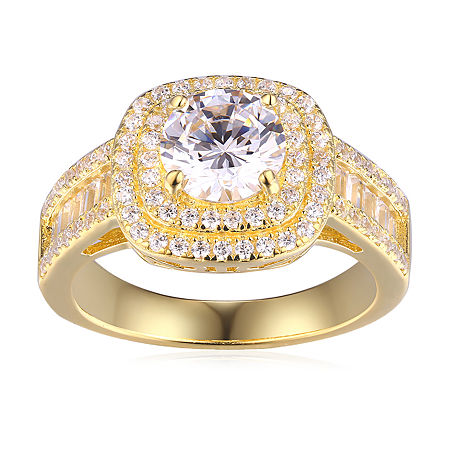 DiamonArt Womens White Cubic Zirconia 14K Gold Over Silver Cocktail Ring, 9 , No Color Family
