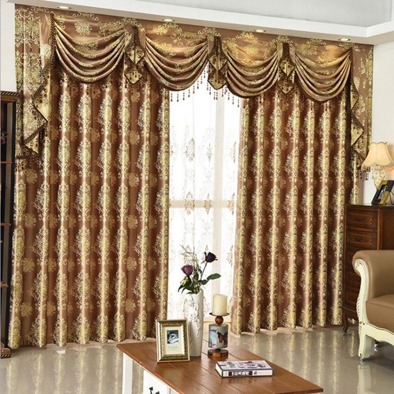 Decorative Polyester Embroidered Luxury European Style 3 Colors Curtain