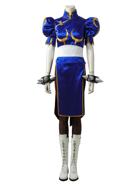 Milanoo Street Fighter Cosplay Costume Chun Li Jacquard Cosplay Outfit