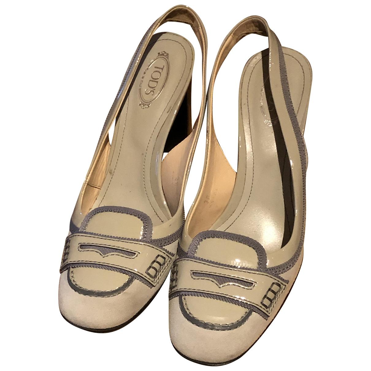 Tods - Sandales   pour femme en cuir verni - gris