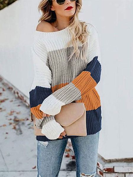 Yoins Color Block Knit Round Neck Sweater