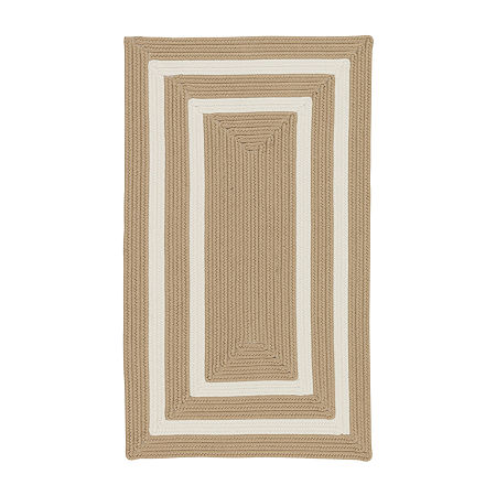Colonial Mills Monica Double Border Braided Rectangular Reversible Indoor/Outdoor Rugs, One Size , White