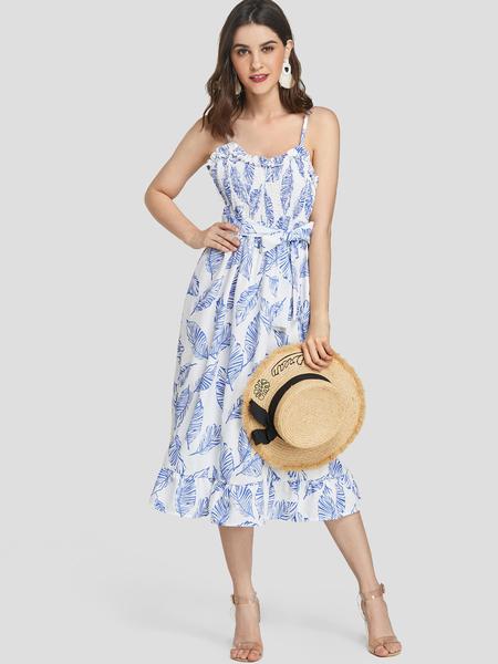 Yoins Blue Leaf Print Flounced Hem Spaghetti Strap Dress