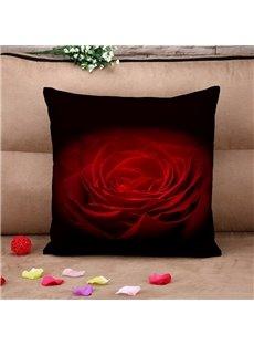 Romantic Red Big Rose Black Cotton Throw Pillow Case