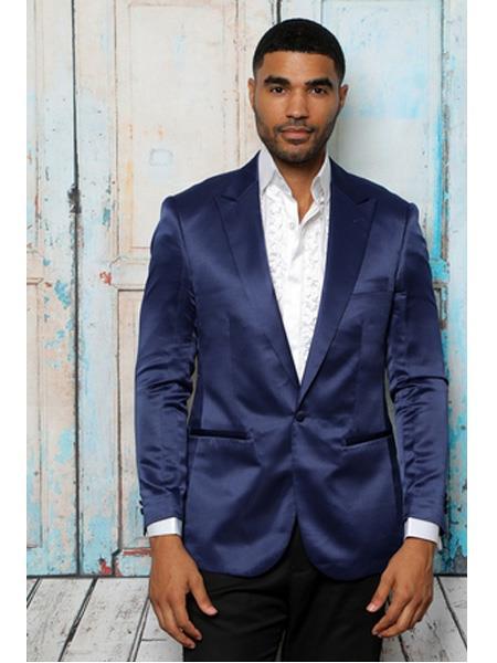 Mens Shiny Flashy Satin Solid Blazer ~ Sport Coat Navy Blue Available