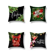 1pc Christmas Slogan Print Cushion Cover
