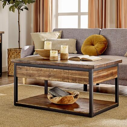 Claremont Collection ANCM1174 42L Rustic Wood Coffee Table with Low
