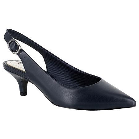 Easy Street Womens Faye Pumps Kitten Heel, 8 1/2 Medium, Blue