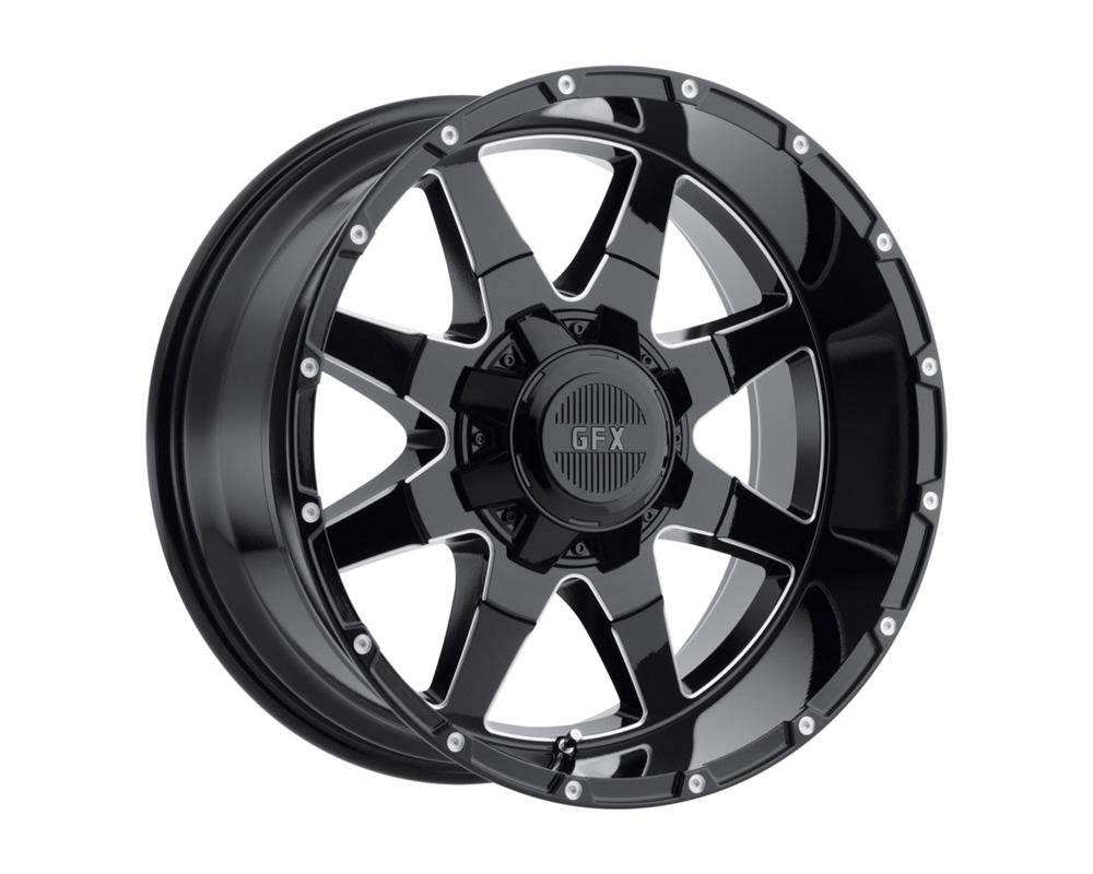 G-FX Wheels T12 890-8180-12 GBM TR12 Gloss Black Milled Wheel 18x9 8x180 12