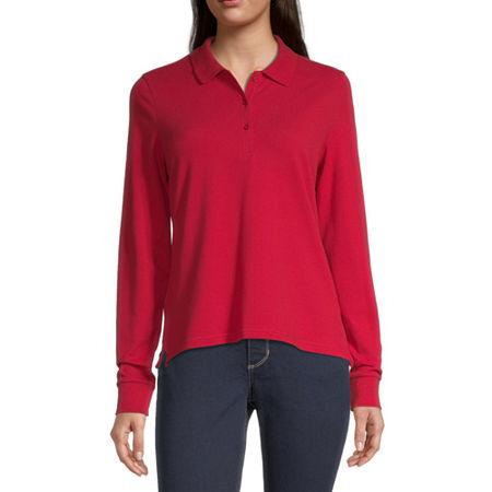 Arizona Juniors Womens Long Sleeve Knit Polo Shirt, Xx-large , Red