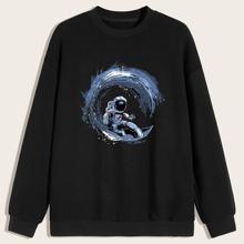 Sweatshirt mit sehr tief angesetzter Schulterpartie und Astronaut Muster