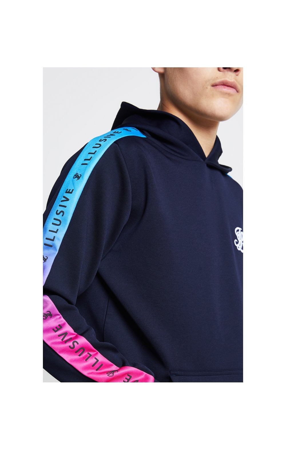Illusive London Fade Panel Overhead Hoodie - Navy Blue & Pink Kids Top Sizes: 11-12 YRS